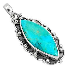 16.77cts natural green kingman turquoise 925 sterling silver pendant p30462