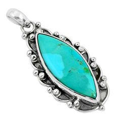 17.20cts natural green kingman turquoise 925 sterling silver pendant p30464