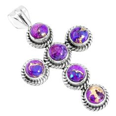 5.63cts purple copper turquoise 925 sterling silver holy cross pendant p30683