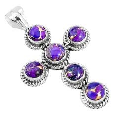 925 sterling silver 5.83cts purple copper turquoise holy cross pendant p30684