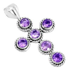 4.69cts natural purple amethyst 925 sterling silver holy cross pendant p30687