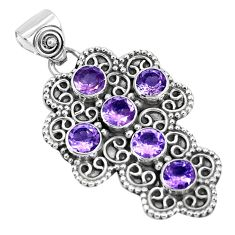 5.42cts natural purple amethyst round 925 sterling silver cross pendant p30708