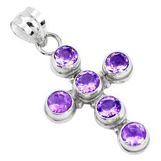5.52cts natural purple amethyst 925 sterling silver holy cross pendant p30728