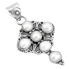 925 sterling silver 5.06cts natural white pearl round holy cross pendant p30775