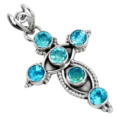 5.02cts natural blue topaz 925 sterling silver holy cross pendant jewelry p30785