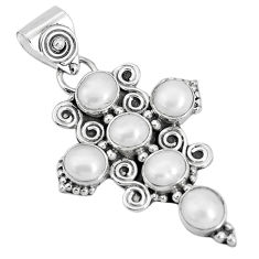 5.11cts natural white pearl round 925 sterling silver holy cross pendant p30809