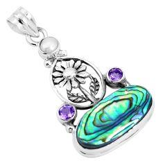 12.72cts natural green abalone paua seashell 925 silver flower pendant p30993
