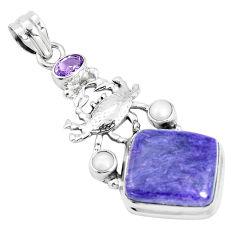 16.93cts natural purple charoite amethyst pearl 925 silver pendant p31261