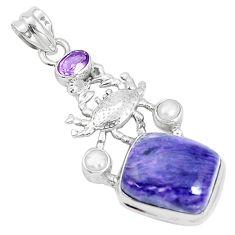 14.43cts natural purple charoite pearl 925 silver crab pendant jewelry p31266