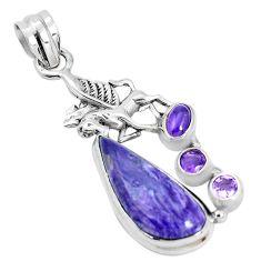 11.68cts natural purple charoite pearl 925 silver unicorn pendant p31269