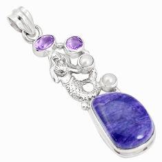 15.74cts natural purple charoite pearl 925 silver fairy mermaid pendant p31276