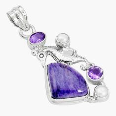 12.70cts natural purple charoite pearl 925 silver seahorse pendant p31290