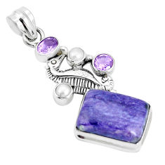 13.81cts natural purple charoite pearl 925 silver seahorse pendant p31297