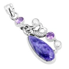 14.40cts natural purple charoite pearl 925 silver fairy mermaid pendant p31301