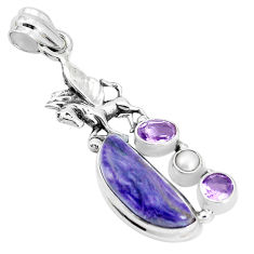 10.38cts natural purple charoite pearl 925 silver unicorn pendant p31302