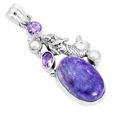17.05cts natural purple charoite pearl 925 silver fairy mermaid pendant p31306