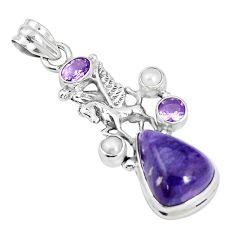 12.70cts natural purple charoite pearl 925 silver unicorn pendant jewelry p31311