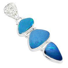 12.72cts natural blue doublet opal australian 925 sterling silver pendant p31313