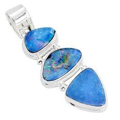 11.03cts natural blue doublet opal australian 925 sterling silver pendant p31314