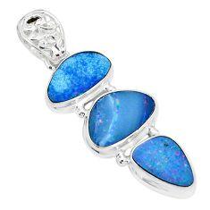 11.71cts natural blue doublet opal australian 925 sterling silver pendant p31316