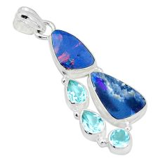 10.64cts natural blue doublet opal australian topaz 925 silver pendant p31317