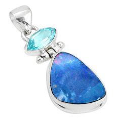 925 silver 8.94cts natural blue doublet opal australian topaz pendant p31318