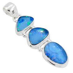 10.64cts natural blue doublet opal australian 925 sterling silver pendant p31319