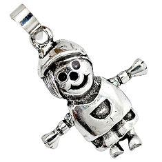 3d moving charm solid 925 sterling silver doll pendant jewelry p3149