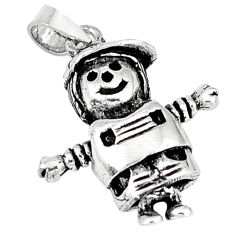 925 sterling silver 3d moving charm solid doll pendant jewelry p3152
