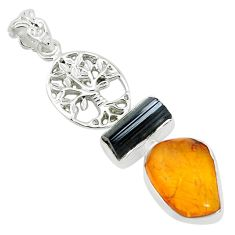 925 silver natural black tourmaline rough amber tree of life pendant p31686