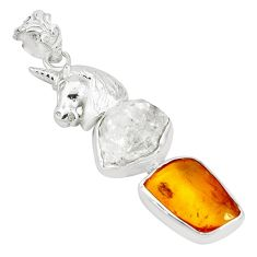 Natural white herkimer diamond amber amber silver horse pendant p31704