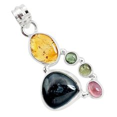 14.12cts natural multi color tourmaline 925 sterling silver pendant p31734
