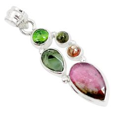 11.23cts natural multi color tourmaline 925 sterling silver pendant p31741