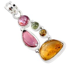 925 sterling silver 10.78cts natural multi color tourmaline fancy pendant p31750