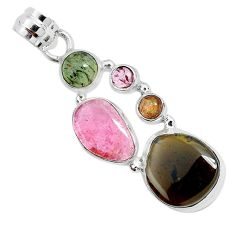 12.77cts natural multi color tourmaline 925 sterling silver pendant p31756