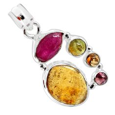 12.83cts natural multi color tourmaline 925 sterling silver pendant p31759