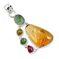17.73cts natural multi color tourmaline 925 sterling silver pendant p31763