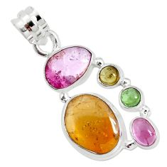 12.83cts natural multi color tourmaline 925 sterling silver pendant p31766