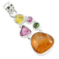 14.12cts natural multi color tourmaline 925 sterling silver pendant p31768