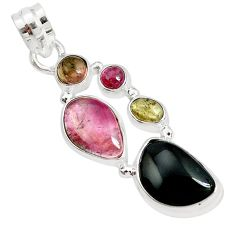 925 sterling silver 13.71cts natural multi color tourmaline pendant p31775