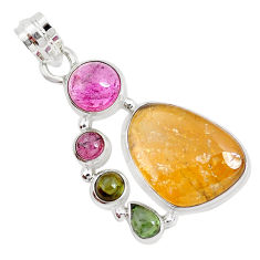 15.76cts natural multi color tourmaline 925 sterling silver pendant p31778