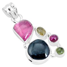 925 sterling silver 14.41cts natural multi color tourmaline fancy pendant p31784