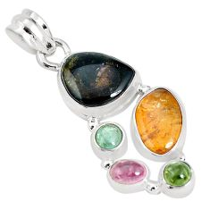 13.28cts natural multi color tourmaline 925 sterling silver pendant p31785
