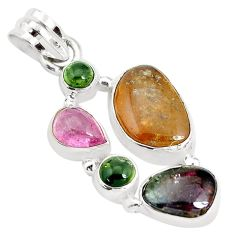 13.69cts natural multi color tourmaline 925 sterling silver pendant p31797