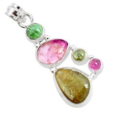14.47cts natural multi color tourmaline 925 sterling silver pendant p31802