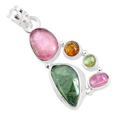12.07cts natural multi color tourmaline 925 sterling silver pendant p31822