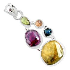 12.36cts natural multi color tourmaline 925 sterling silver pendant p31828