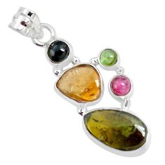 12.07cts natural multi color tourmaline 925 sterling silver pendant p31836