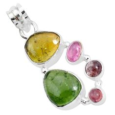 12.83cts natural multi color tourmaline 925 sterling silver pendant p31844