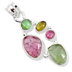 11.21cts natural multi color tourmaline 925 sterling silver pendant p31846